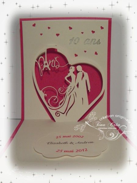 carte pop up mariage tina crea - Faire Part Mariage Kirigami
