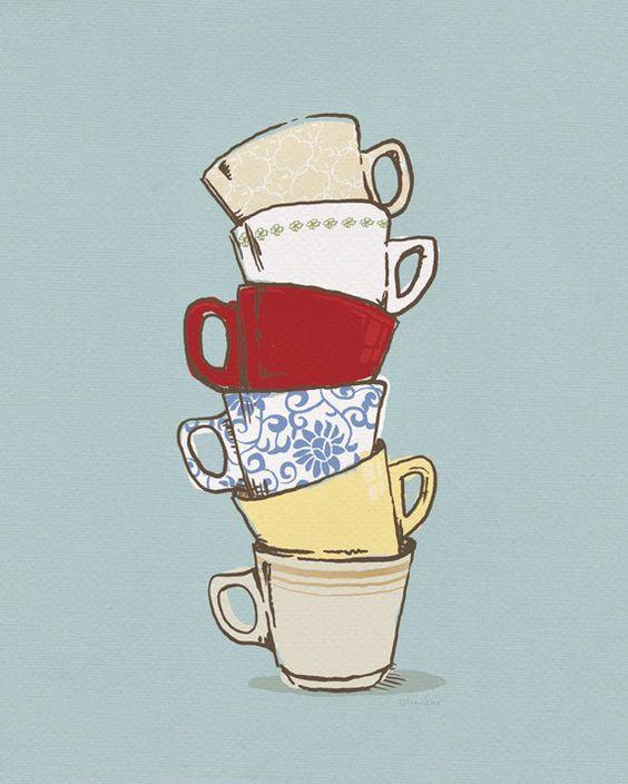 Quirky Kitchen Artwork: Teacups 5x7 Art Print, Kitchen Art Decor, Coffee Cup Art
