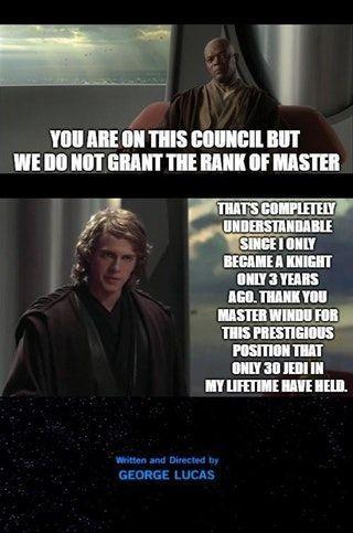 Completely Reasonable Prequelmemes Starwarsmemes Star Wars Humor Star Wars Facts Funny Star Wars Memes