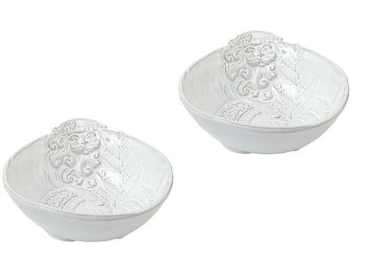 Mud Pie Yuletide Collection Milk Glazed Terra Cotta Santa Soup Bowls, Set of 2