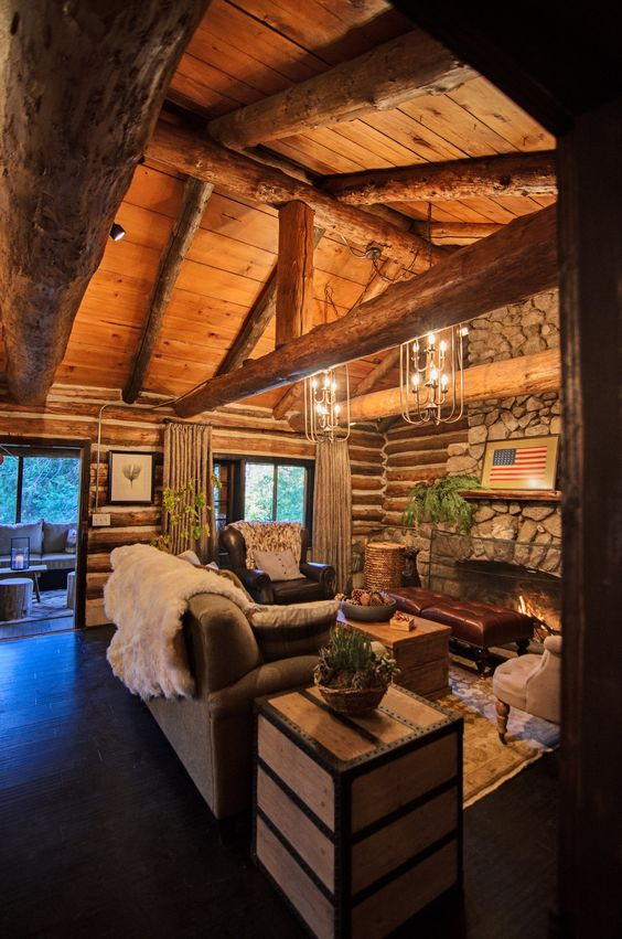 stunning log cabin living room | Pinterest • The world's catalog of ideas