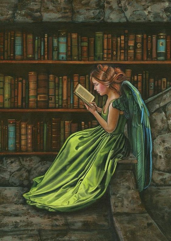 Image result for angel reading book in library painting