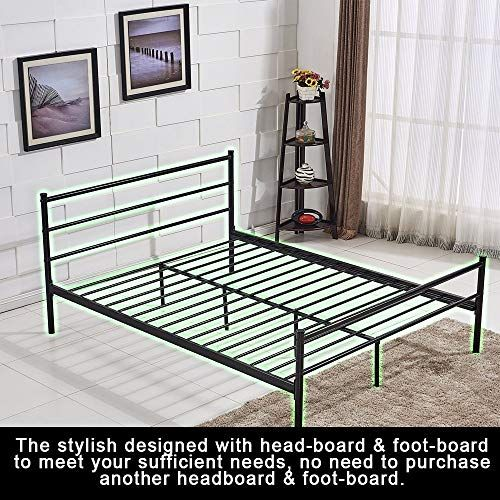 Queen Size Bed Frame For Men Platform Bed Frame Box Spring Replacement With Headboard And Footboard Safe A Bed