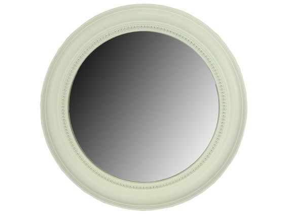 White wash round beveled framed mirror home is where the for White round wall mirror