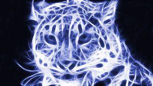 léopard des neiges fractal bleu