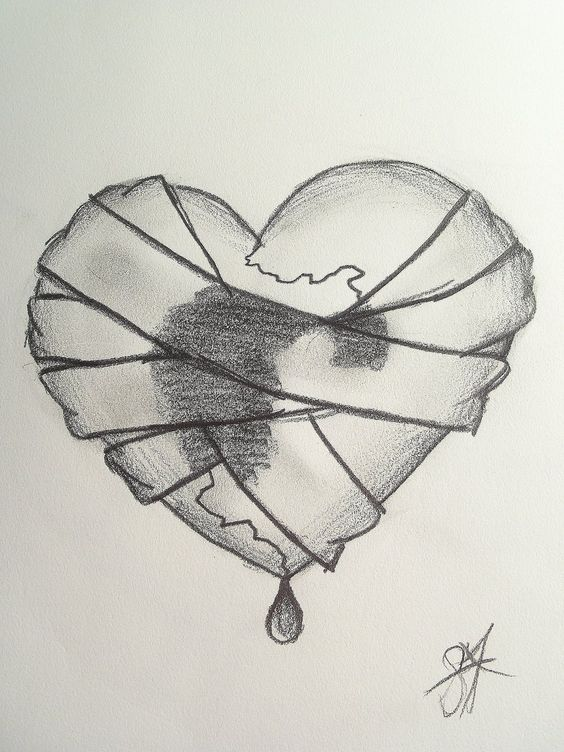 Really detailed broken heart sketches bandaged heart by dreamur gurl