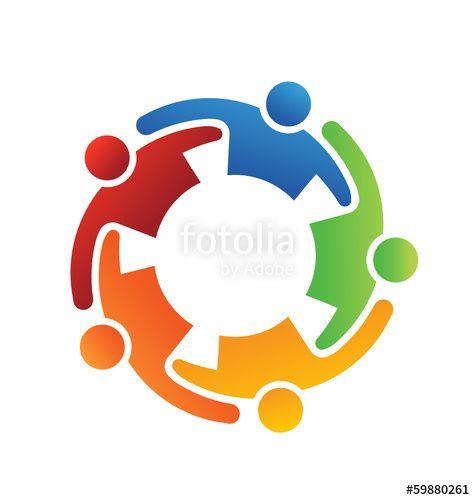 Logo Vector Teamwork Embrace 5 People Group Teamwork Family Children Kids Team Meeting Business Partner Logo Teamwork Logo Vector Logo People Logo