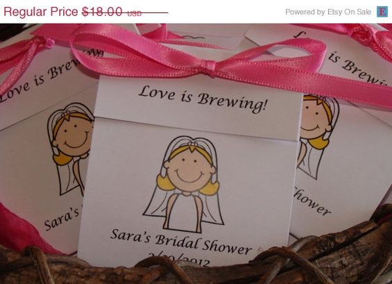 ON SALE Bride Cartoon Personalized Tea Bag Favors Cute Wedding Shower or Bridal Shower Party Favors SALE Cij Christmas in July via Etsy