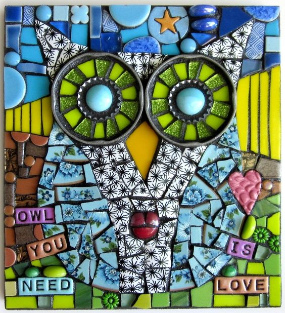 OWL YOU NEED IS LOVE!  handmade mixed media mosaic assemblage art stained glass polymer clay found object junk assemblage art