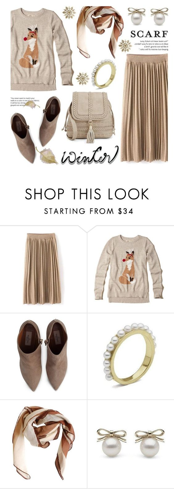 """""""Winter Scarf Style"""" by littlehjewelry ❤ liked on Polyvore featuring Hollister Co., Valentino, HUGO, scarf, contestentry, pearljewelry and littlehjewelry"""