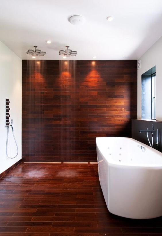 Parquet, specially developed for the bathroom by Moelven in Norway