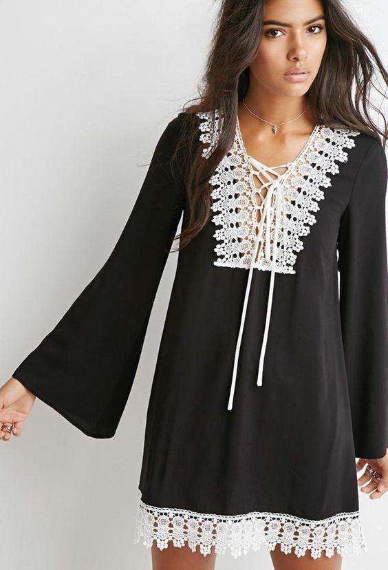 Crochet-Trimmed Shift Dress https://picvpic.com/women-dresses/crochet-trimmed-shift-dress#Black~cream?ref=QA8LwA
