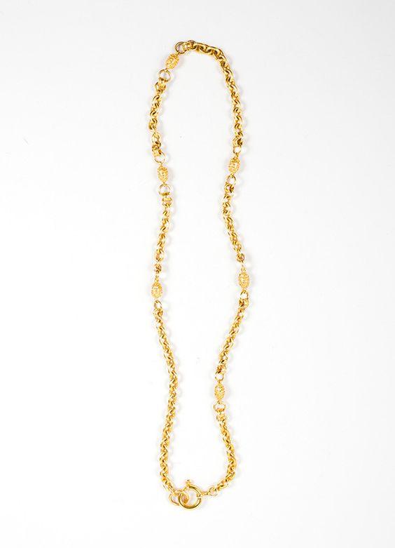 Gold Toned Hammered Chain Link Egg Embellished Necklace