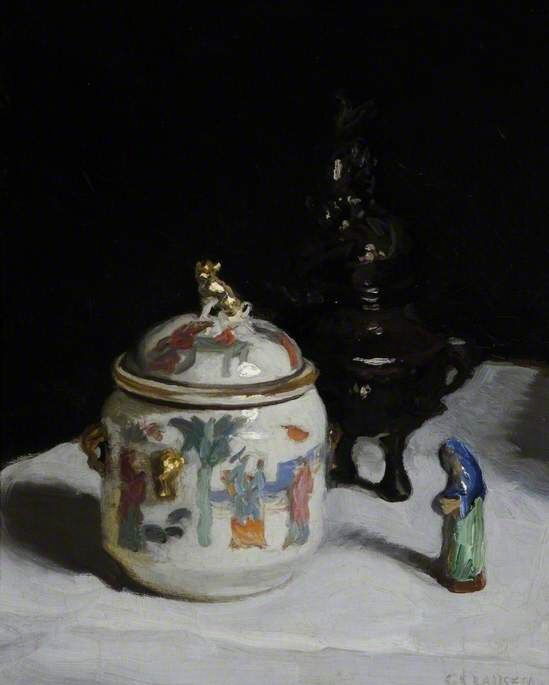 George Clausen (1852-1944), The Chinese Pot (n.d.), oil on board, 25.5 x 32.3 cm.