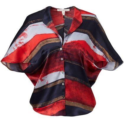 Zarte rote Bluse von Twenty8Twelve. Die Bluse ist mit seinem wilden Muster ein echter Hingucker.