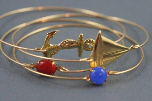 Nautical collection gold bangles