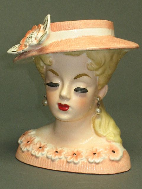 Unique Creations American Handmade Collectibles Lady Face Head Vase