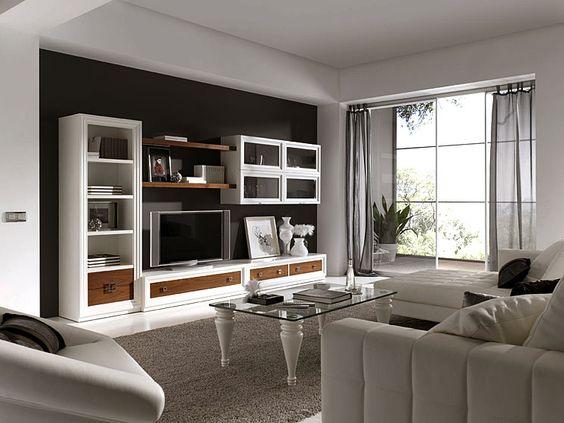 Salon penelope lacado en blanco material madera de haya for Muebles salon modulares madera
