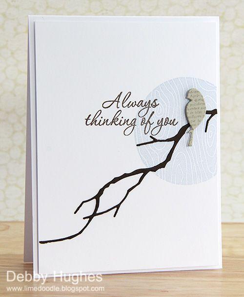 "handmade card ... clean and simple ... blue moon sponged in circle stencil ... die cut bird on Memory Box die cut branch ... ""Always thinking of you"" ..."