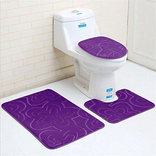 Bath Rugs Set 3 Piece Purple Non Slip