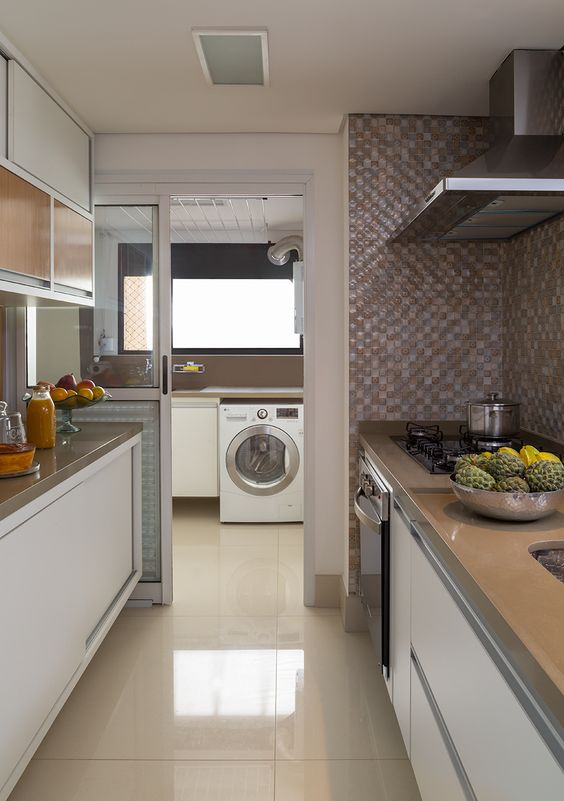Decora o de cozinha piso de porcelanato bege casa de for Pisos apartamentos pequenos