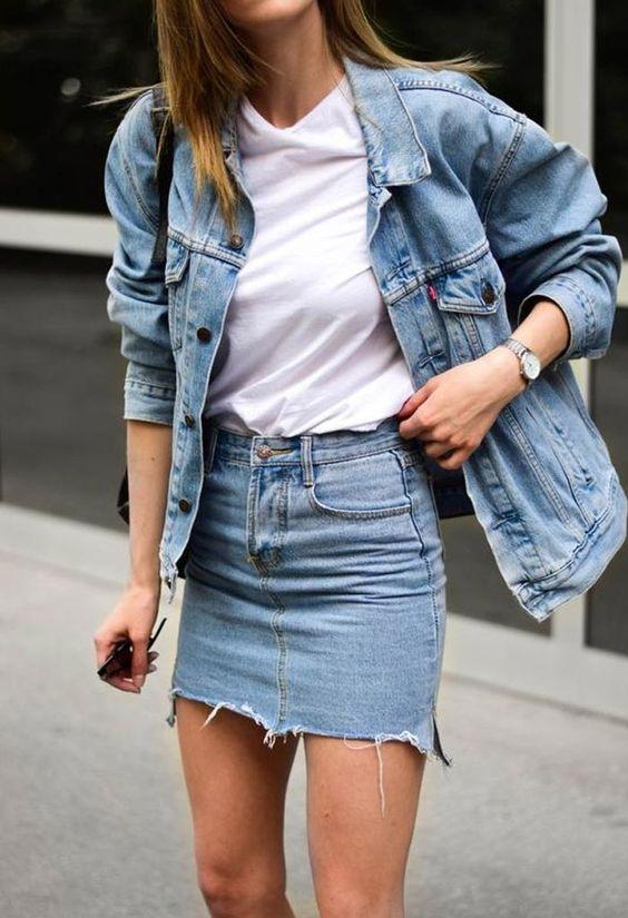 7 maneiras de usar jaqueta jeans feminina - um look por dia da semana ❤ • Blog Virou Tendência