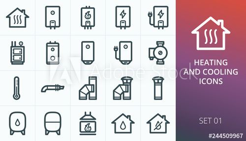 Home Heating System Icons Set Set Of Heating Boiler Home