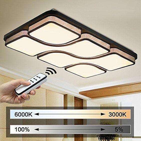 Natsen® 48W LED Deckenleuchte Schwarz Modern Deckenlampe voll dimmbar…