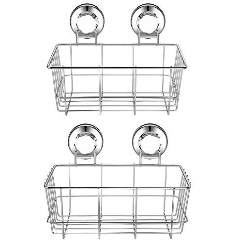 2pack Shower Kitchen Caddy Basket Strong Suction Cup Rustproof Stainless Steel