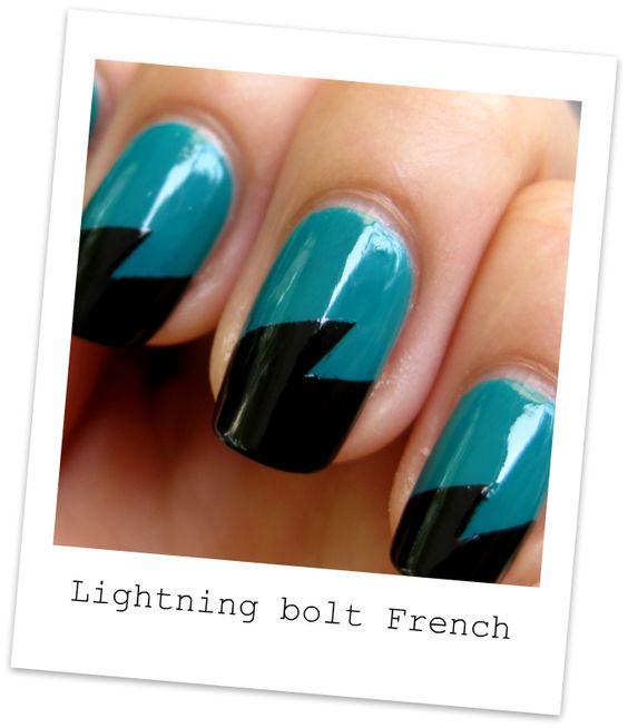 Nailside: Tutorial: Lightning bolt French tape mani