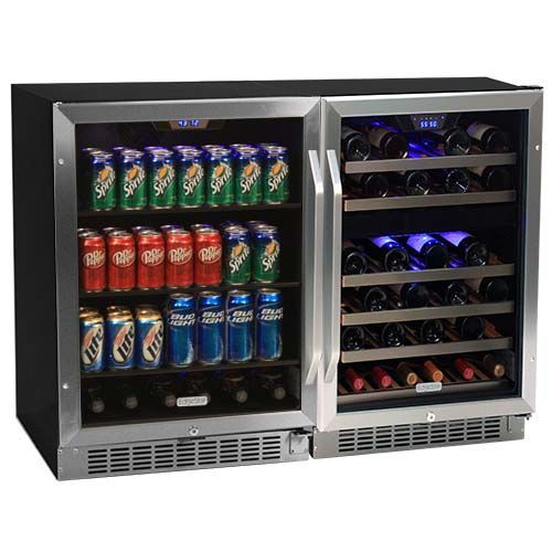 48 Inch Wide 46 Bottle 148 Can Side By Side Wine And Beverage Center Wine Coolers Drinks Beverage Center Beverage Cooler
