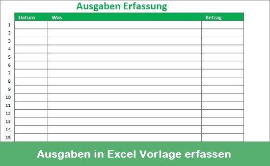 Ausgaben In Excel Vorlage Erfassen In 2020 Finanzplanung Finanzen Excel Vorlage