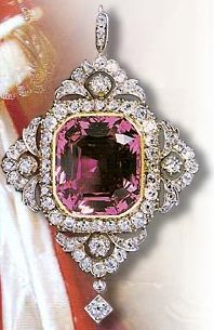 Around 1900, pink topaz made a comeback as Edwardian socialites vied to display the finest, most expensive and most unusual jewels. A few superb examples, such as the pink topaz pendant illustrated here, once owned by the Marchioness of Londonderry, demonstrate how lovely this gem can be. The revival was short-lived, and pink topaz never rose to the level of demand it had in the 1830s.