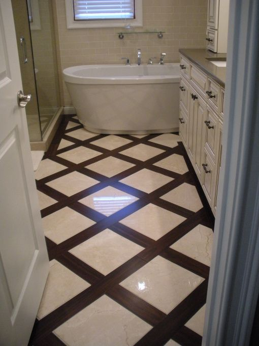 Master bath renovation bamboo flooring with 12 x 12 crema for Bamboo bathroom design