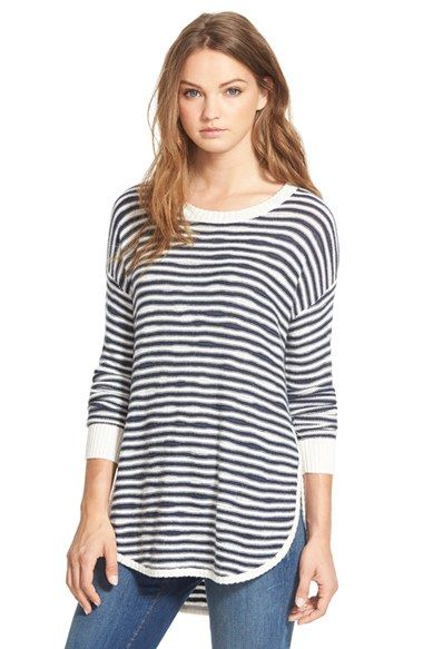 Free shipping and returns on Treasure&Bond Asymmetrical Stripe Sweater at Nordstrom.com. Asymmetrical stripes lend casual appeal to a cozy knit sweater finished with relaxed, dropped-shoulder long sleeves and <br />a split high/low hem.<br /><br />When you buy Treasure&Bond, Nordstrom will donate 2.5% of net sales (that's 5% of net profits) to organizations that work to empower youth.