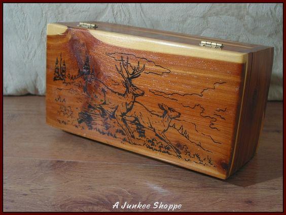 WOOD BOX Montana Jewelry Knick Knack Keepsake Storage  8 1/4  X 4 1/ 4 X 3 3/8   http://ajunkeeshoppe.blogspot.com/