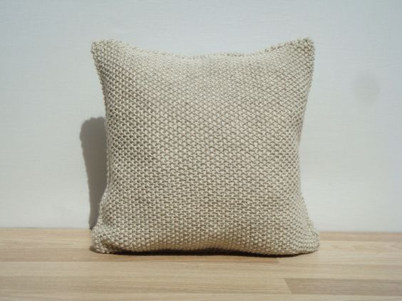 Knitting Pillow Light Beige Pillow Home Decor by GreenCatStudio