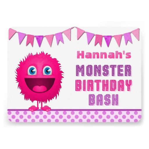 Cute Girly Monster Birthday Bash Personalized Announcements