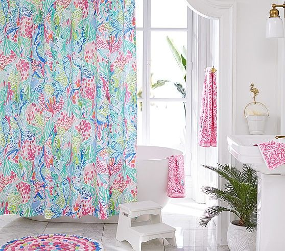Lilly Pulitzer Mermaid Cove Shower Curtain In 2020 Colorful