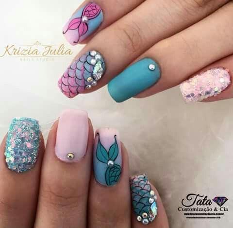 Mermaid Nails Uñas Marinas Manicura De Uñas Y Uñas De Sirena