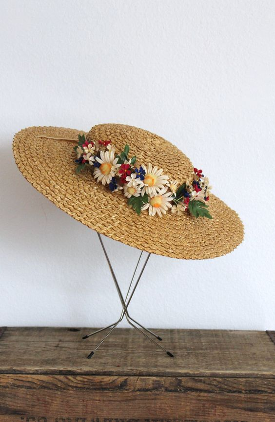 30% off all items / vintage 1930s straw hat 30s wide brim straw floral boater hat with millinery flowers and taupe velvet bow / to market. $82.60, via Etsy.: