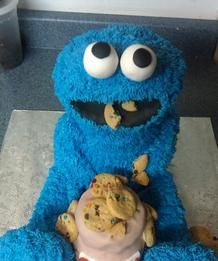 Cookie Monster loves cookies AND cake.