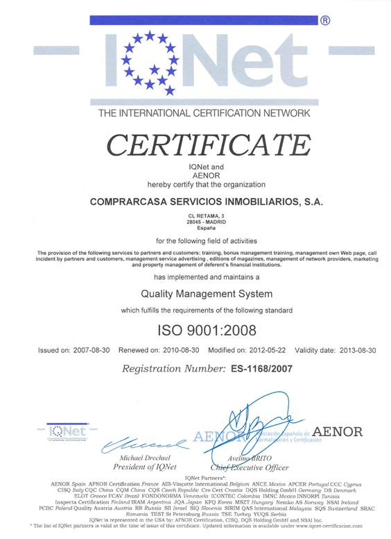 Certificado de Calidad ISO 9001:2008 Comprarcasa