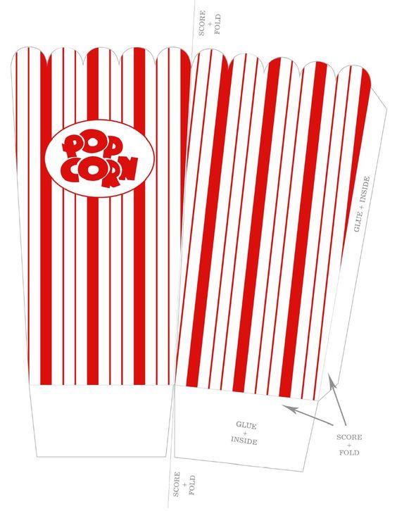 Cajas de patrones cajas de regalo pinterest for Popcorn container template