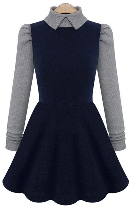 Navy Contrast Grey Sleeve Lapel Dress - Sheinside.com