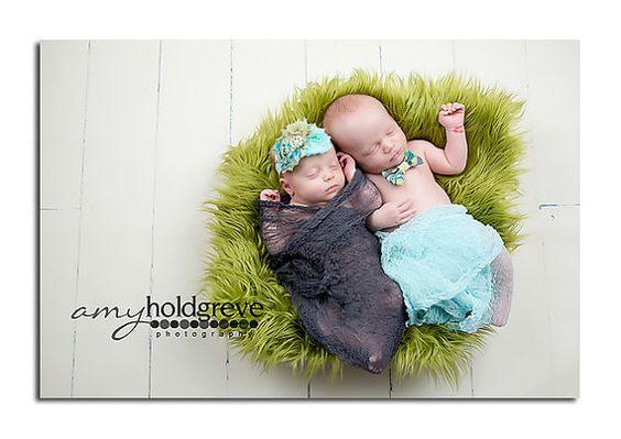 Fotografía Prop Twin Set...Apoyos de la foto recién...Venda de la muchacha del bebé...Bebé niño pajarita...Envolturas de estopilla