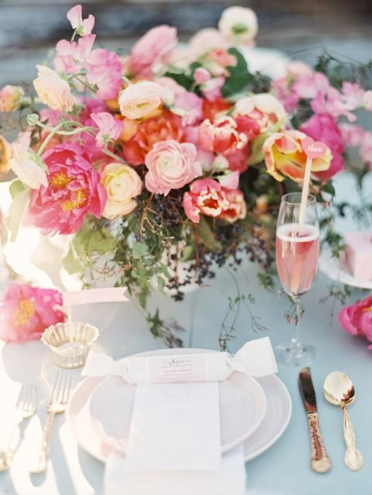 pink peony and tulip centerpiece: