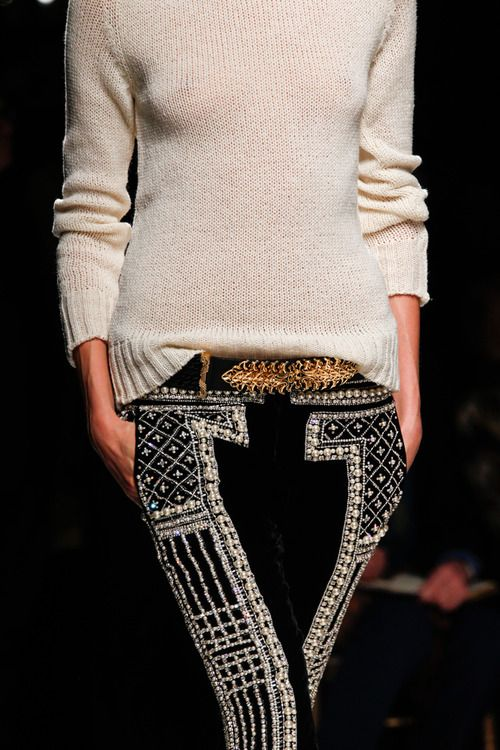 Plain sweater unique belt & cool pant with a print or pop of color or print.: