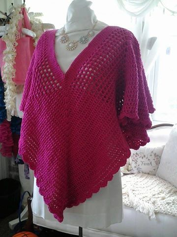 Shocking Pink Hand Crochet Pull Over Shawl LG/XL by KlsCrochetCouture on Etsy