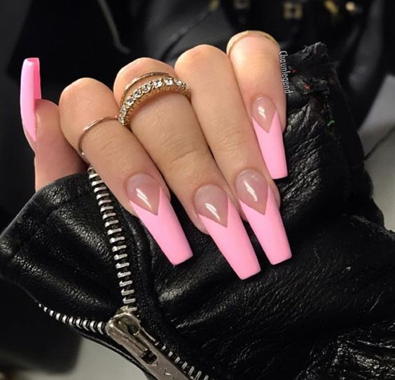 34 Luxury Coffin French Tip Nail Designs Pink Acrylic Nails French Tip Nail Designs French Tip Acrylic Nails
